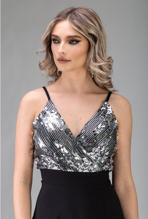 Rochie lunga neagra cu paiete argintii