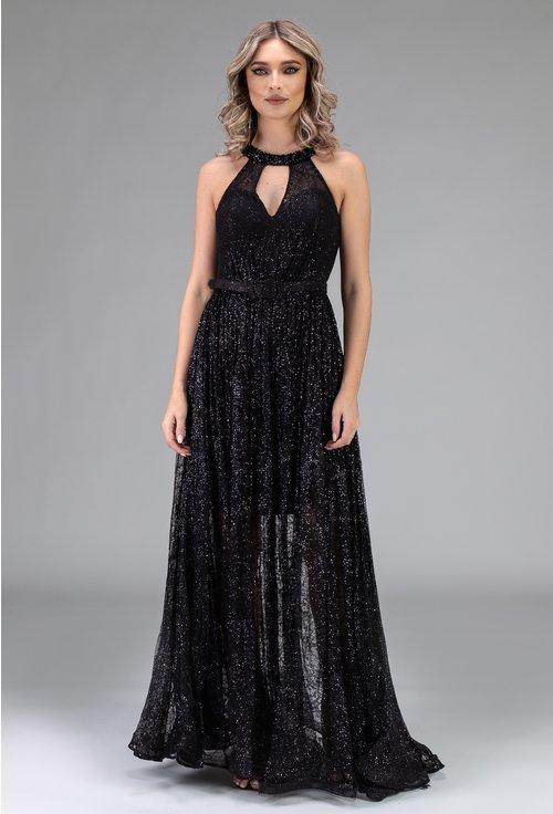 Rochie lunga neagra cu voal si bretele diferite