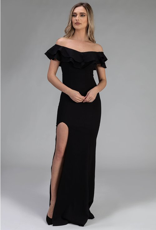 Rochie lunga neagra cu volan si crapatura