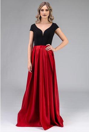 Rochie lunga nuanta rosu inchis si negru