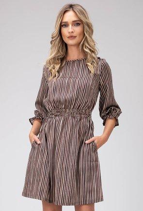 Rochie maro cu dungi verticale si buzunare