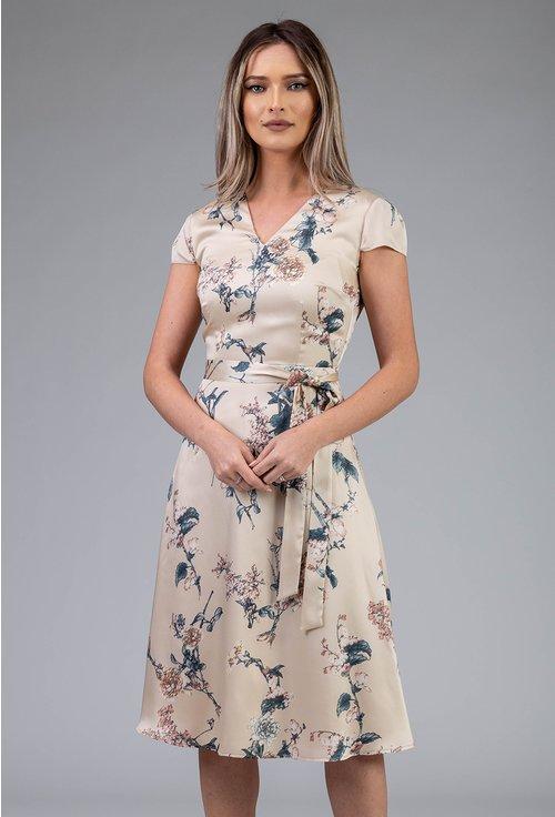 Rochie matasoasa bej cu imprimeu floral