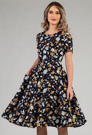 Rochie matasoasa nuanta navy cu imprimeu floral