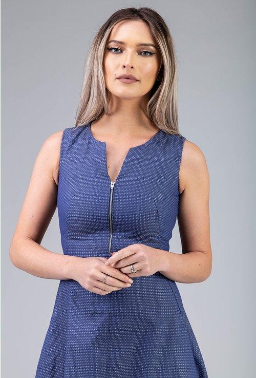 Rochie midi albastra cu fermoar in zona bustului