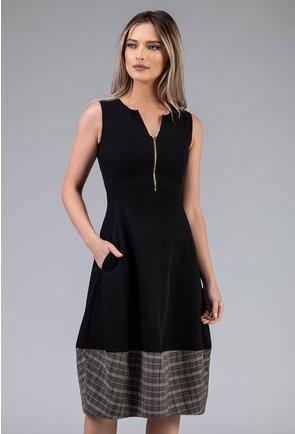 Rochie midi neagra cu detalii carouri si fermoar