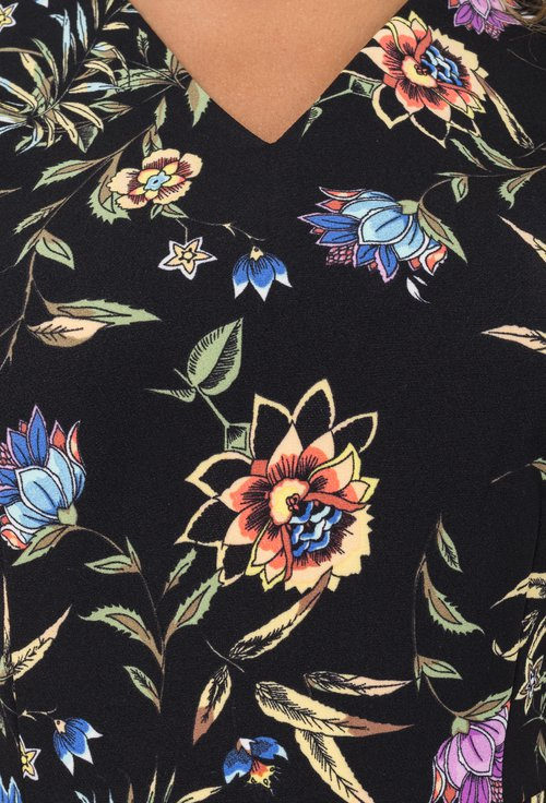 Rochie midi neagra cu imprimeu floral colorat Artemisa