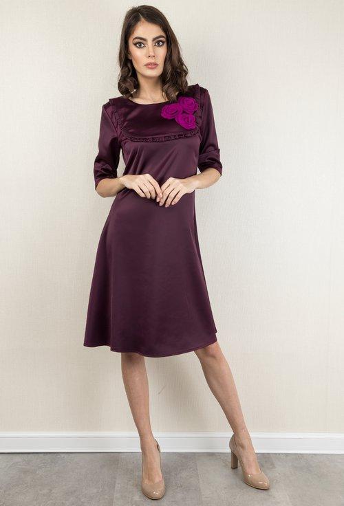 Rochie midi violet din material satinat Daniela