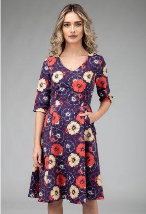 Rochie mov din bumbac cu imprimeu floral portocaliu si bej