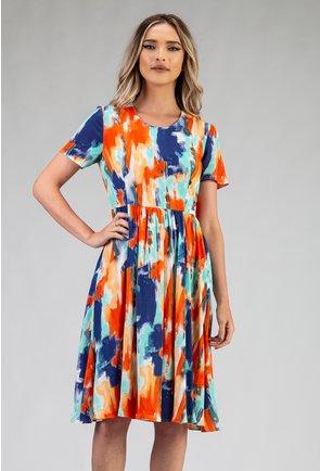 Rochie multicolora cu imprimeu abstract si pliuri