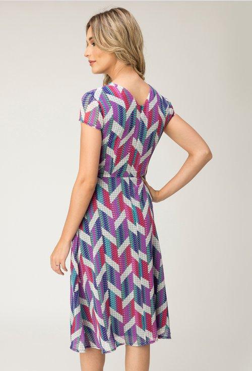 Rochie multicolora cu imprimeu abstract Sol