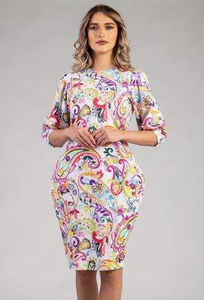 Rochie multicolora din bumbac organic cu imprimeu floral