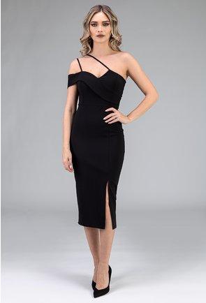 Rochie neagra cu bretele pe o singura parte