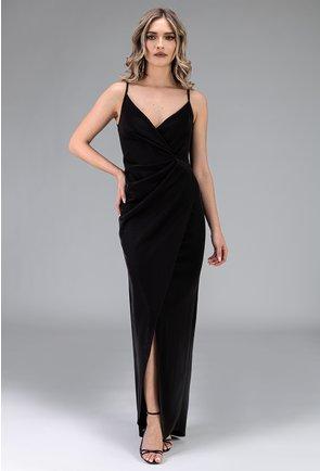 Rochie neagra cu bretele si crapatura