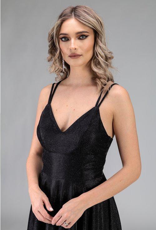 Rochie neagra cu bretele si siret in partea din spate