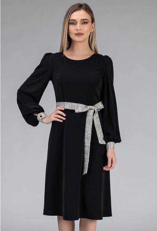 Rochie neagra cu cordon cu insertii sclipitoare