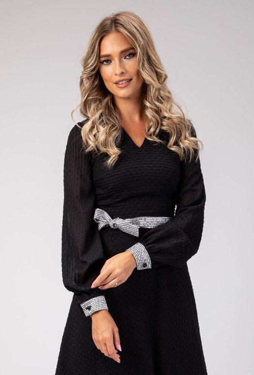 Rochie neagra cu detalii gri metalizat Estefania