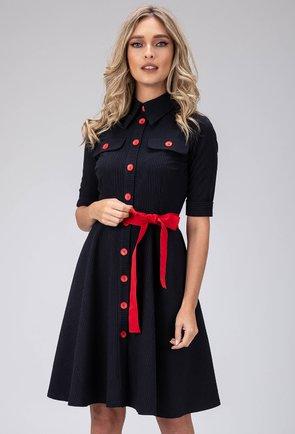 Rochie neagra cu guler si detalii rosii
