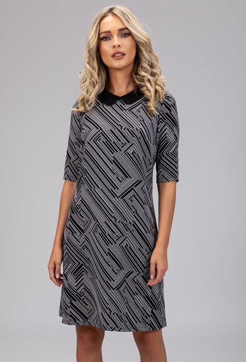 Rochie neagra cu imprimeu abstract cu dungi albe
