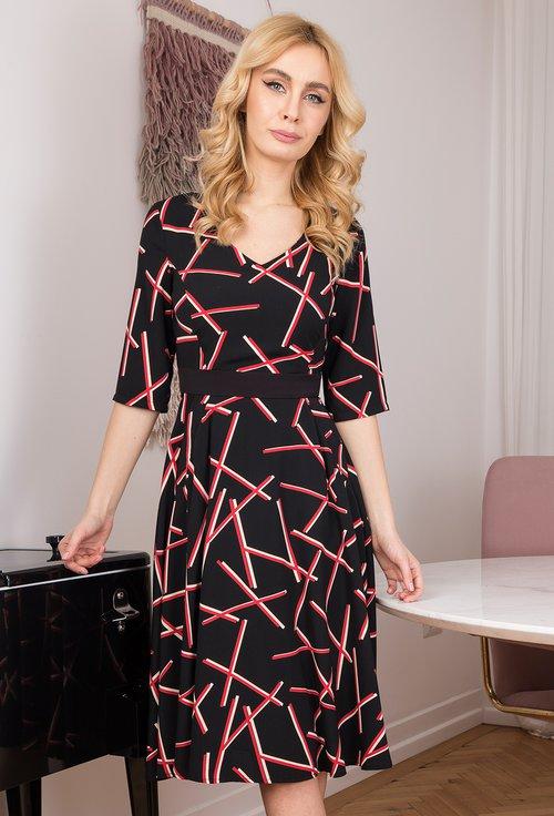 Rochie neagra cu imprimeu abstract rosu si buzunare Zoe