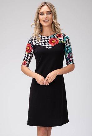 Rochie neagra cu imprimeu abstract si floral Maribel