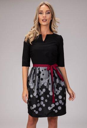 Rochie neagra cu imprimeu cu buline gri