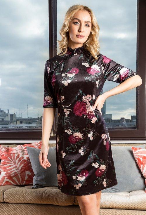 Rochie neagra cu imprimeu floral Debbie