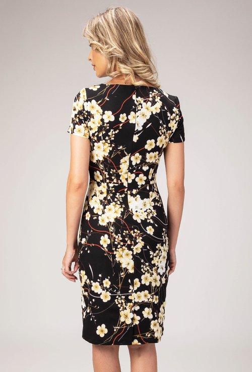 Rochie neagra cu imprimeu floral Lili