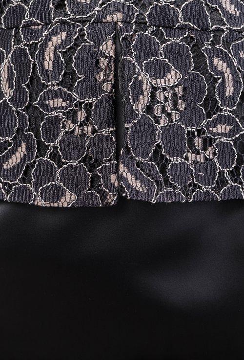 Rochie neagra cu imprimeu floral maro din dantela Lucy