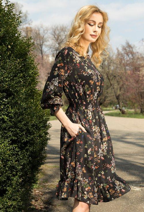 Rochie neagra cu imprimeu floral si buzunare Emily