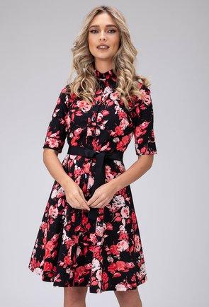 Rochie neagra cu imprimeu floral si nasturi