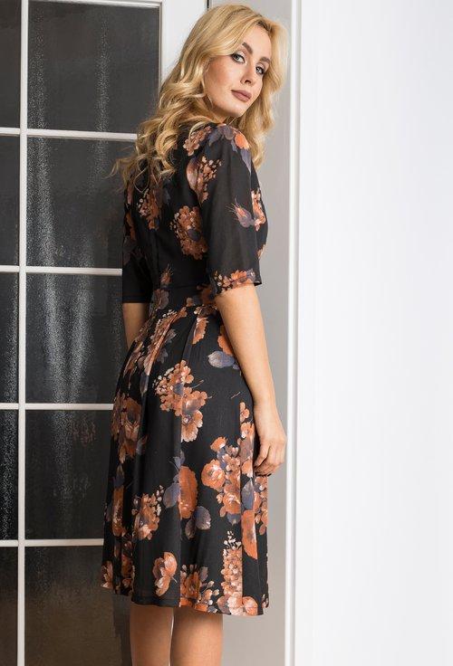 Rochie neagra cu imprimeu floral caramiziu Alberta