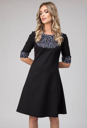 Rochie neagra cu imprimeu geometric Salma