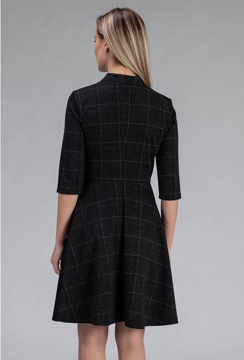 Rochie neagra cu imprimeu in carouri