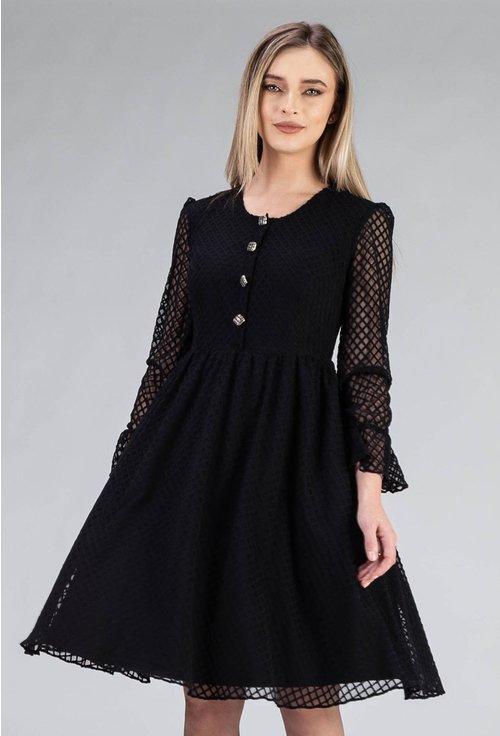 Rochie neagra cu maneci cu volane