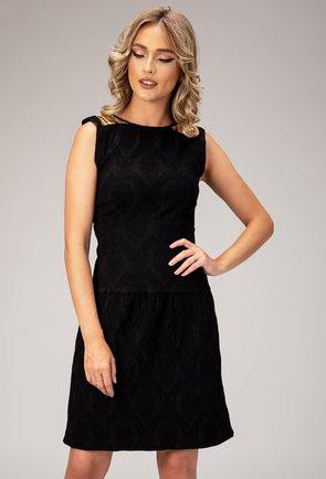 Rochie neagra cu striatii si epoleti Aime