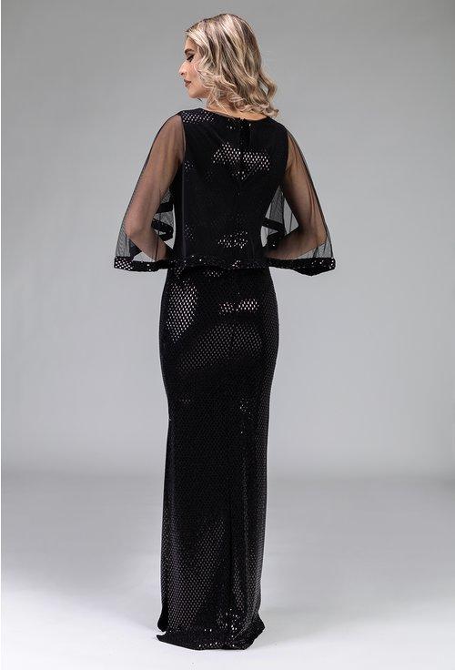 Rochie neagra cu triunghiuri sclipitoare si capa