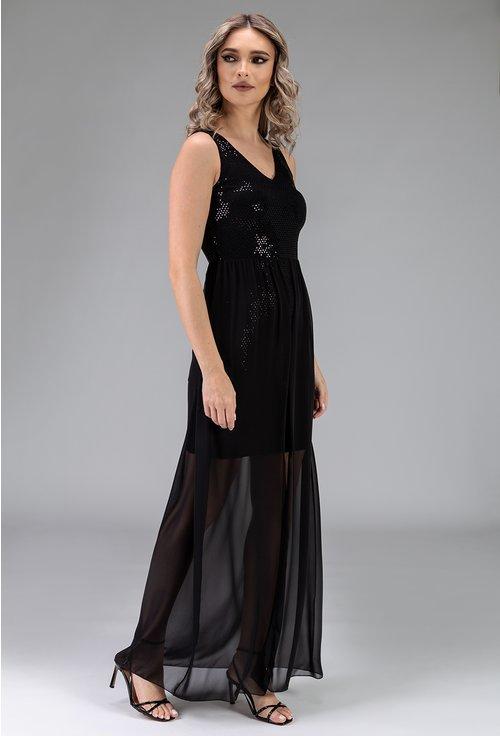 Rochie neagra cu voal si insertii sclipitoare