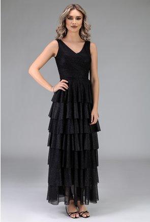 Rochie neagra cu volane si insertii sclipitoare