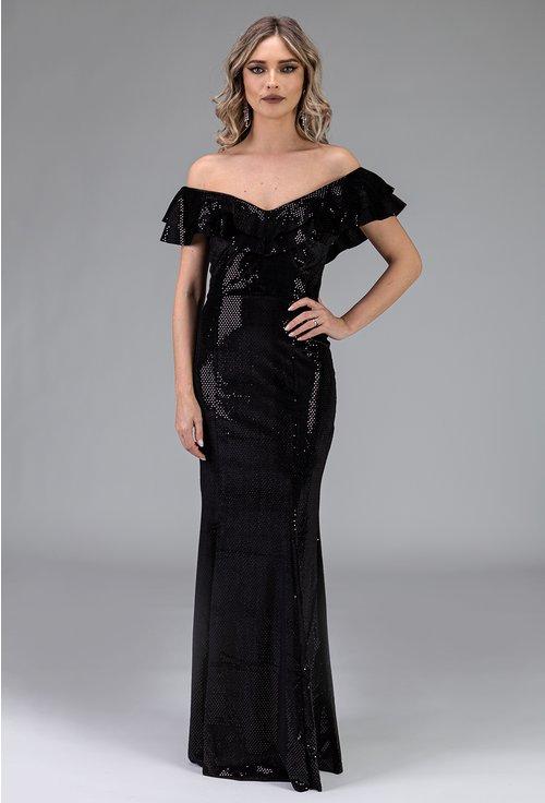 Rochie neagra din catifea cu aplicatii sclipitoare
