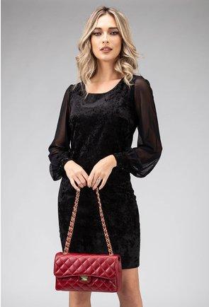 Rochie neagra eleganta cu maneci vaporoase