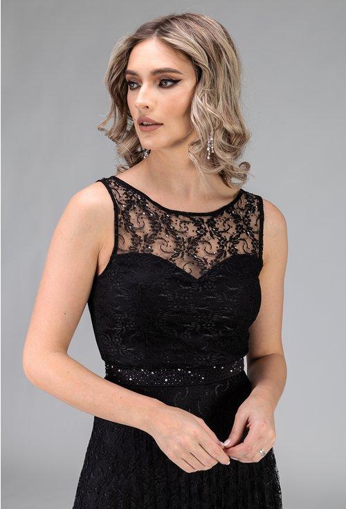Rochie neagra lunga din dantela