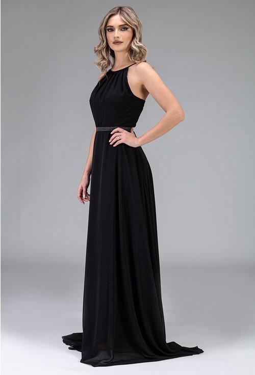 Rochie neagra lunga si ampla cu bretele