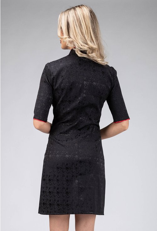 Rochie neagra tip chimono cu detalii rosii