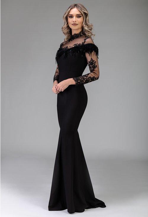 Rochie neagra tip sirena cu detalii cu pene