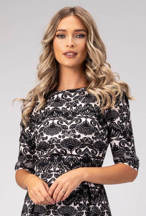 Rochie nuanta alb cu negru cu imprimeu abstract Ines