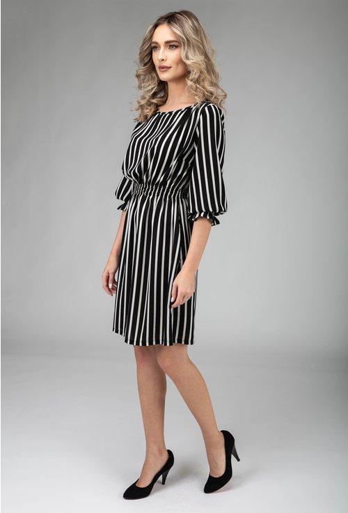 Rochie nuanta alb cu negru cu imprimeu dungi