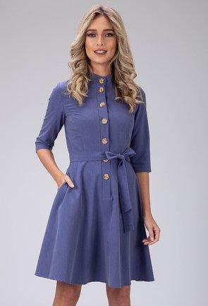 Rochie nuanta bleu buzunare si cordon