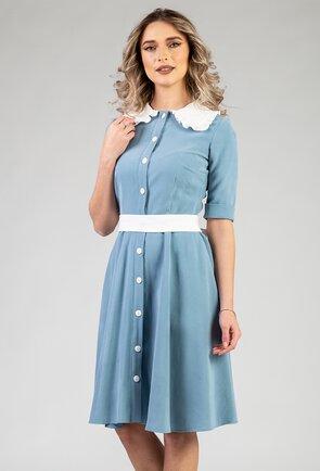 Rochie nuanta bleu cu guler alb