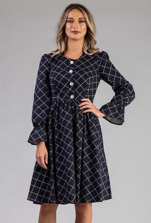 Rochie nuanta bleumarin cu imprimeu in carouri