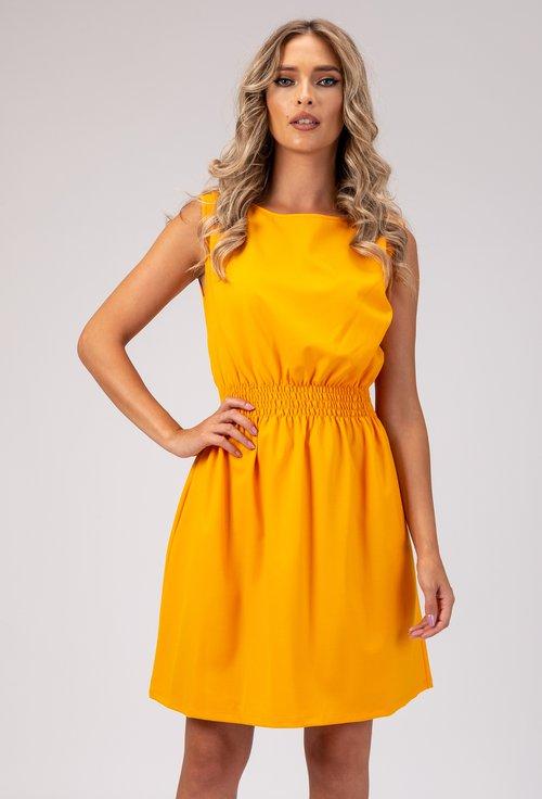 Rochie nuanta galben mustar cu elastic in talie Sunny